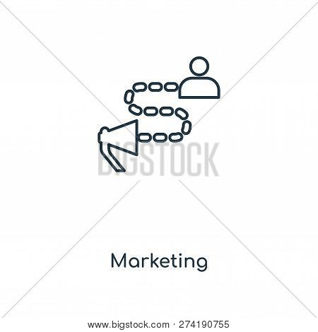 Marketing Icon In Trendy Design Style. Marketing Icon Isolated On White Background. Marketing Vector