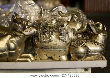 Carved And Decorated Metal Animal Jewellery Container Souvenirs For Sale In An Asian Market, Elephan