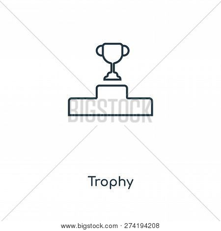 Trophy Icon In Trendy Design Style. Trophy Icon Isolated On White Background. Trophy Vector Icon Sim