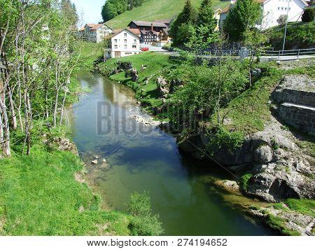River Urnäsch In The Village Of Zürchersmühle - Canton Of Appenzell Ausserrhoden, Switzerland