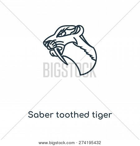 Saber Toothed Tiger Icon In Trendy Design Style. Saber Toothed Tiger Icon Isolated On White Backgrou