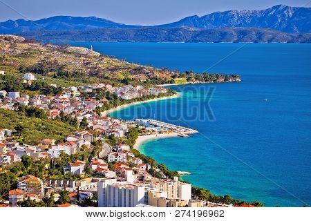 View Of Tucepi Waterfront In Makarska Riviera, Dalmatia Region Of Croatia