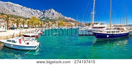 Idyllic Waterfront Of Baska Voda Panoramic View, Town In Makarska Riviera Of Dalmatia, Croatia