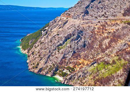 Scenic Road In Makarska Riviera Biokovo Cliffs Waterfront View, Mountain And Sea In Dalmatia Region