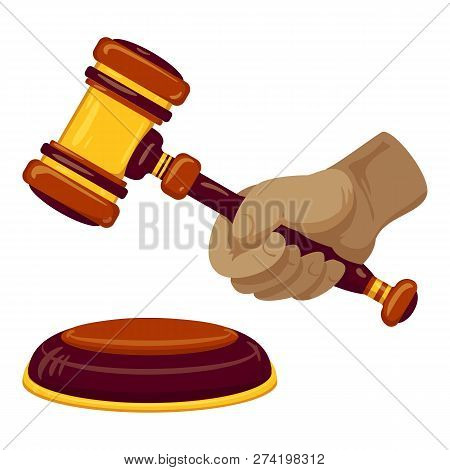 Hand Hold Gavel Icon. Cartoon Of Hand Hold Gavel Vector Icon For Web Design Isolated On White Backgr