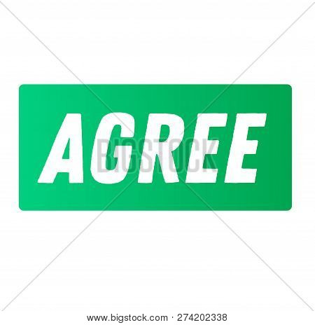 Agree Advertising Sticker, Label, Stamp On White
