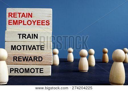 Words Retain Employees Train Motivate Reward Promote On A Wooden Blocks.