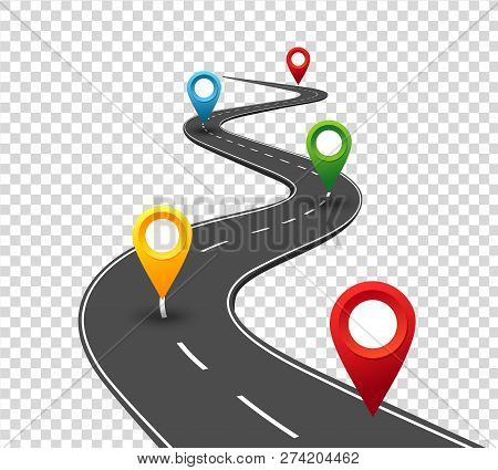 Road Infographics. Winding Road To Success With Pin Pointers. Business Journey Way. Progress Vector