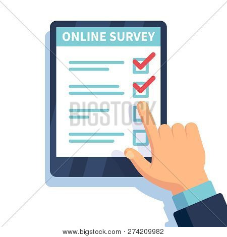 Online Survey. Internet Surveying, Hands Holding Tablet With Test Form. Mobile Questionnaire, Custom