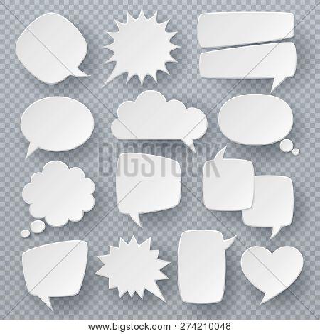 White Speech Bubbles. Thought Text Bubble Symbols, Origami Bubbly Speech Shapes. Comic Dialog Clouds