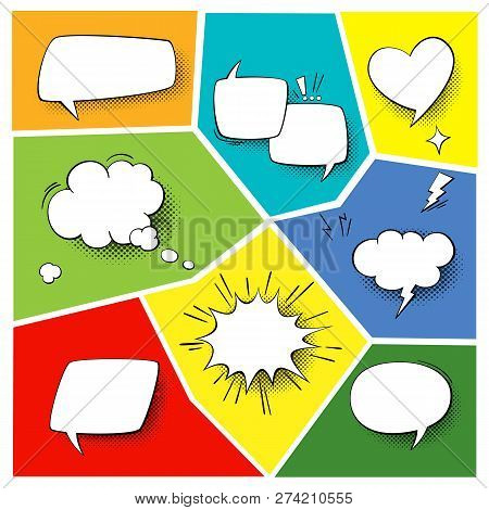 Speech Popart Elements. Comic Cartoon Shapes For Dialogs Thinking And Talking On Varicoloured Backgr