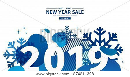 Horizontal Abstract Geometric Design For The Happy New Year 2019. Christmas Offer Banner With Vector