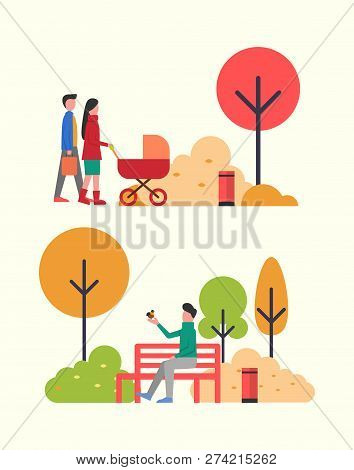 People Walking In Autumn Park, Family With Newborn Baby In Pram Vector. Father And Mother Pulling Pe