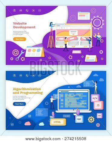 Website Development, Algorithmization And Programming Vector. Screen Of Laptop With Information, Cod