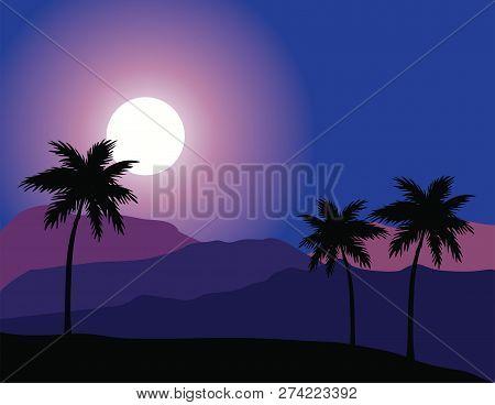 Vector Illustration Of Desert Night Background. Palms, Sunset Nature Background.