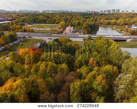Aerial View Of Arboretum And The Solnechnaya Alleya In Zelenograd In Moscow, Russia