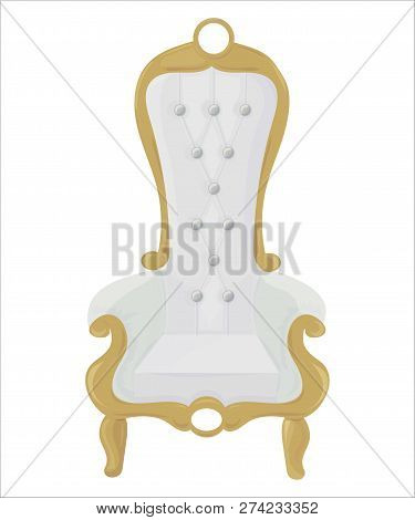 Luxury Style White Chair Or Armchair Isolated Vector Illustration. Could Be Also Used As Vintage Roy