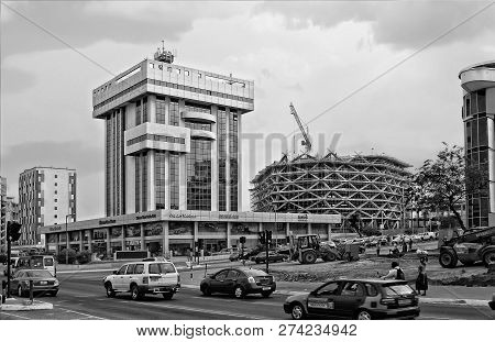 Construction, Building Frame, Scaffolding, New Shopping Mall. Development Of Urban Infrastructure In