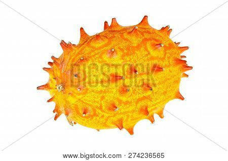 Kiwano, Whole Fruit Isolated On White Background. Horned Melon, African Horned Cucumber, Jelly Melon