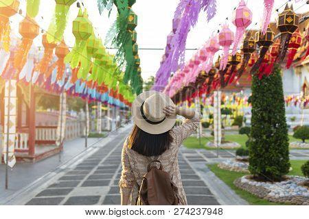 A Woman Tourist Is Enjoy Traveling At Wat Benchamabophit Dusitvanaram Marble Temple Bangkok During