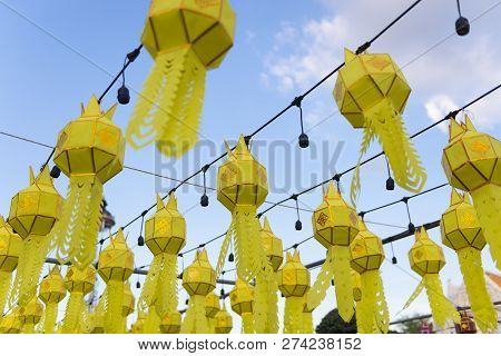 Thai Northern Yipeng Lantern Festival Decoration Inside The Old Temple During New Year Celebration B
