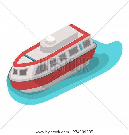 Rescue Water Boat Icon. Isometric Of Rescue Water Boat Vector Icon For Web Design Isolated On White