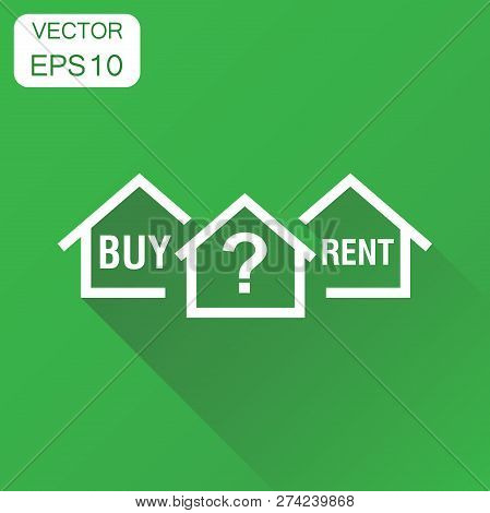 Buy Or Rent House Dilemma Icon. Business Concept Home Pictogram.