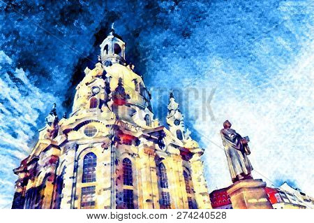 Frauenkirche, Church Of Our Lady In Dresden, Germany