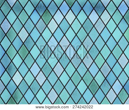 abstract stained glass blue window pattern