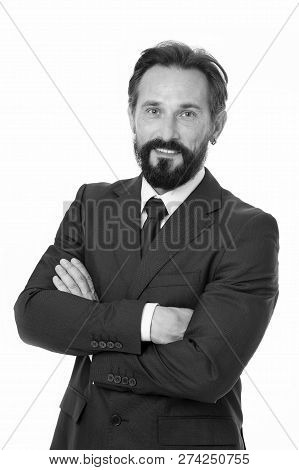 Confident In His Decision. Businessman Classic Formal Clothing Made Decision. Business Behaviour Mus