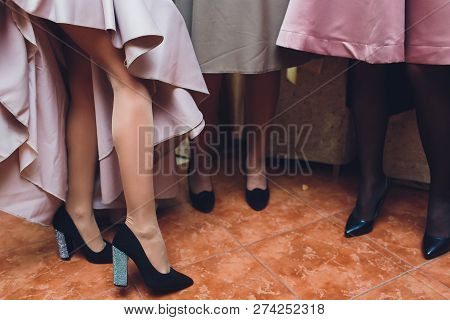 Womens Legs.woman Legs In High Heel Shoes..beautiful Legs Woman Wearing Dress With High Heels Shoes.
