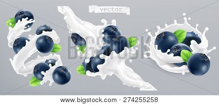 Blueberry And Milk Splash, Yogurt. 3d Realistic Vector Icon