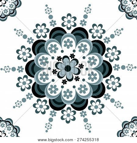 Black And White Floral Seamless Pattern For Ceramic, Porcelain, Chinaware Design
