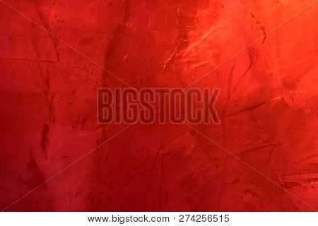 Red Textural Wall. Red Cement Wall Texture For Christmas Or Valentine, Red Abstract Background.