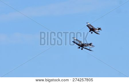 Ickwell, Bedfordshire, England - August 05, 2018: Vintage  Bristol F2.b  And Sopwith Camel Ww1 Aircr