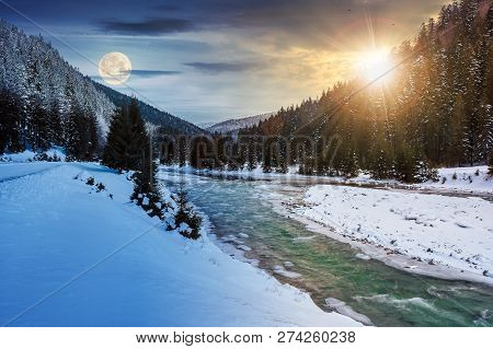 Day And Night Time Change Concept. Mountain River In Winter With Sun And Moon. Snow Covered River Ba