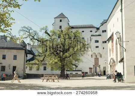 Salzburg, Austria. April, 2015: Hohensalzburg Castle Or Festung Hohensalzburg Fortress On The Top Of