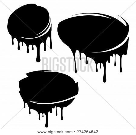 Set Of 3 Black Decors With Paint Drips. Vector Illustration For Your Design.