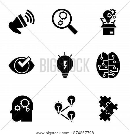 Brainstorming Icon Set. Simple Set Of 9 Brainstorming Icons For Web Design Isolated On White Backgro