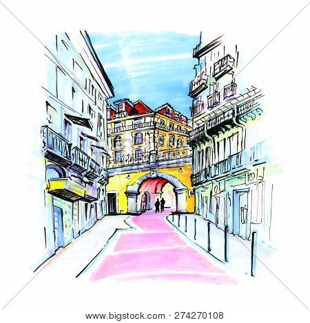 The Famous Pink Street Of Rua Nova Do Carvalho In The Cais Do Sodre Area Of Lisbon, Portugal. Pictur