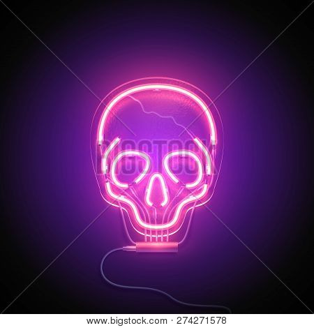 Neon Sign. Retro Neon Skull Signboard On Purple Background. Design Element. Ready For Your Design. V