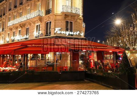 Paris France-december 12, 2018 : The Restaurant Fouquets Decorated For Christmas. It Located At Aven