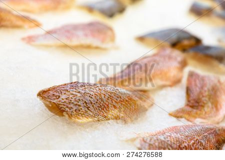 Chicken Thigh Fillet Without Bone And Skinless, Isolated With Shadow.