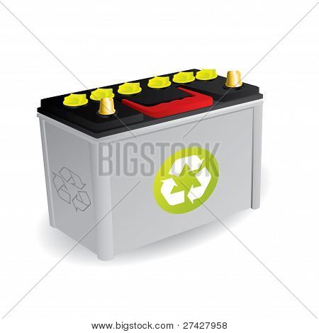 Recyclable Car Battery With Sign
