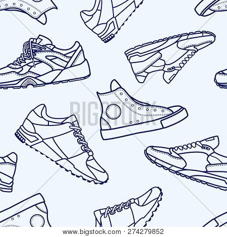 Seamless Pattern With Sneaker Shoe Flat Line Stroke Icon Pictogram Symbol Illustration Isolated On W