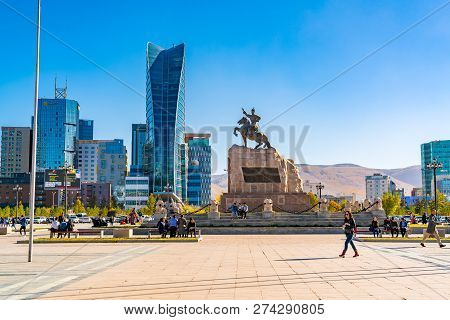 Ulaanbaatar, Mongolia - October 3, 2018 : Sukhbaatar Square Or Genghis Khan Square With The Statue O