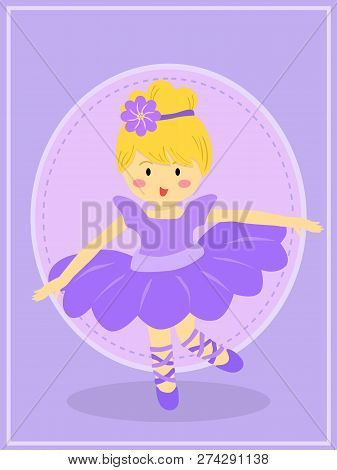 Ballerina Girl With Purple Dress Tutu Dancing Ballet In Purple Theme Background