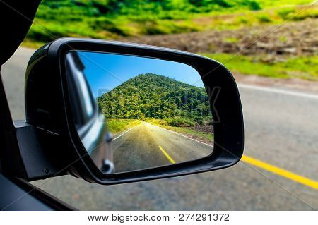 Landscape In The Sideview Mirror Of A Car , On Road Countryside. - Image