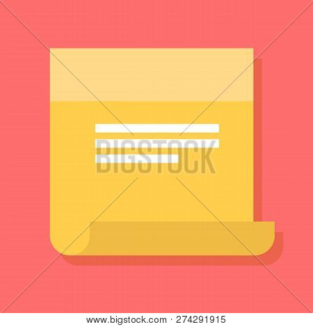 Sticky Note Vector Icon In A Flat Style. Design Yellow Sticky Note Icon Isolated On Background. Conc