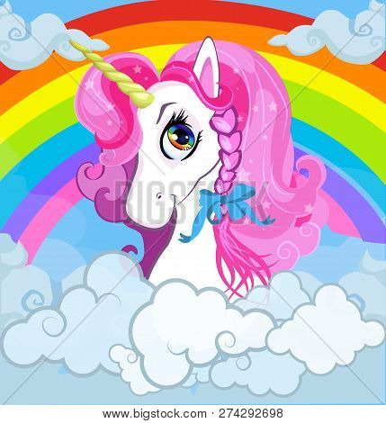 Cartoon White Pony Unicorn Head With Pink Mane Portrait On Bright Rainbow With Clouds Sky Background